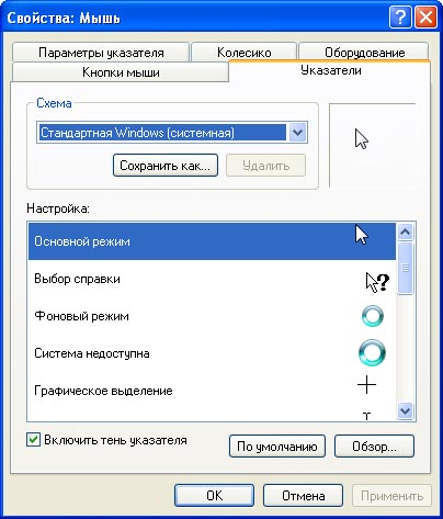 Вкладка Указатели диалогового
